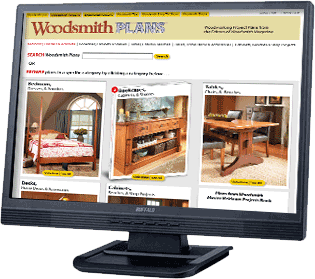 Monitor displaying Woodsmithplans.com home page